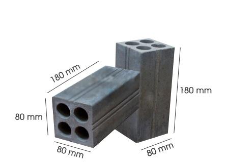 Gạch ống không nung 4 lỗ